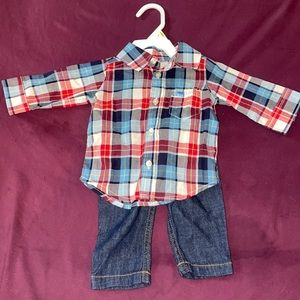 Carter's Plaid button down shirt and jeans outfit